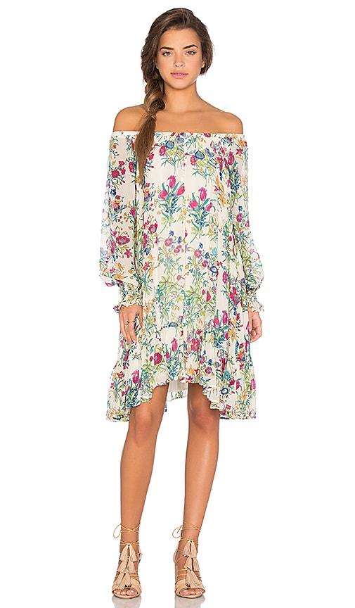 Lage Floral Long Sleeve Off Shoulder Dress