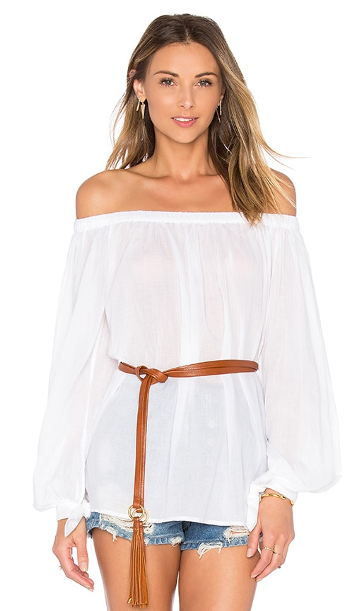 Essentiel Antwerp Leyonce Long Sleeve Off Shoulder Top in White