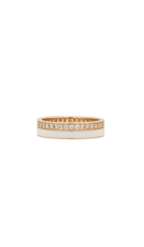 Elizabeth Stone Enamel CZ Ring in Metallic Gold