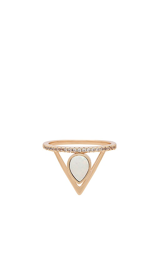 Elizabeth Stone Pave Triangle Ring in Metallic Gold