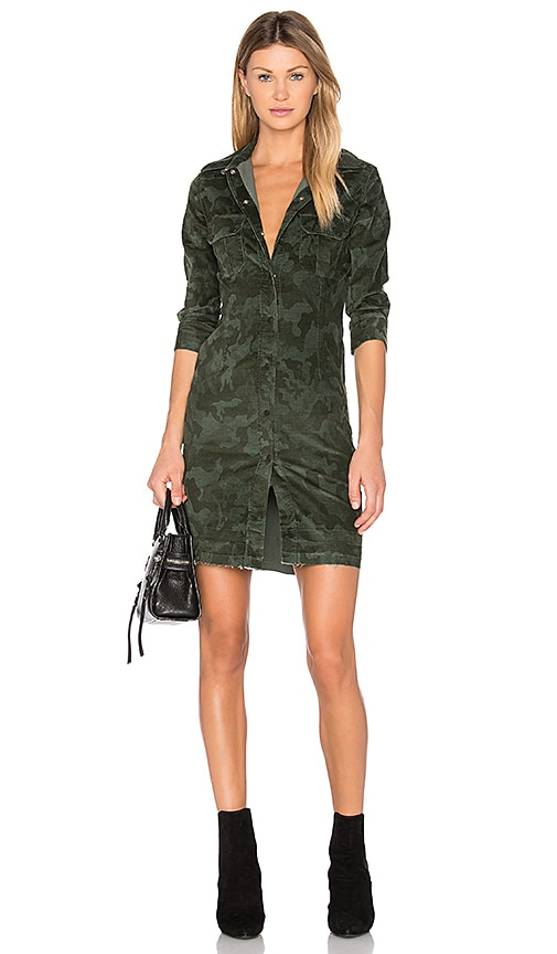 Etienne Marcel Button Up Mini Dress in Olive