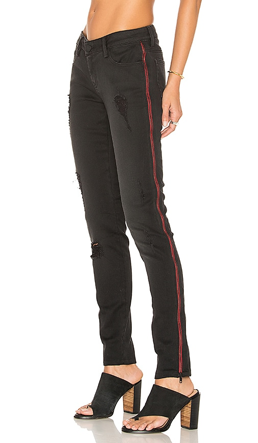 Etienne Marcel Distressed Zip Skinny in Black