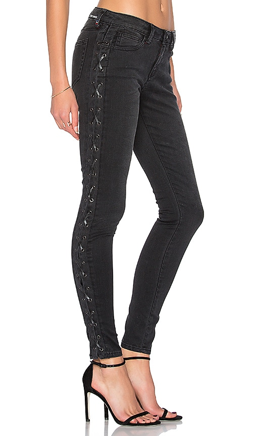Etienne Marcel Lace Up Skinny in Black