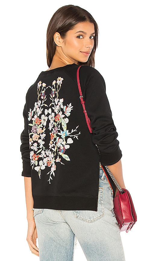 Etienne Marcel Natalie Embroidered Sweatshirt in Black