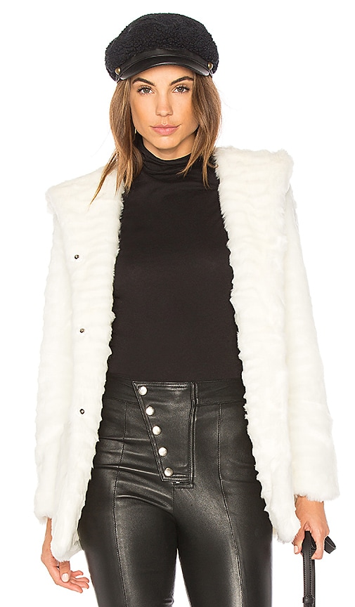 Etienne Marcel Indigo Faux Fur Coat in White
