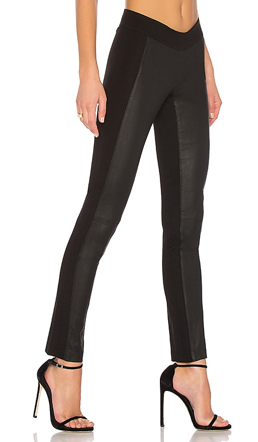 ETIENNE MARCEL Valery Straight-Leg Leather Leggings in Black