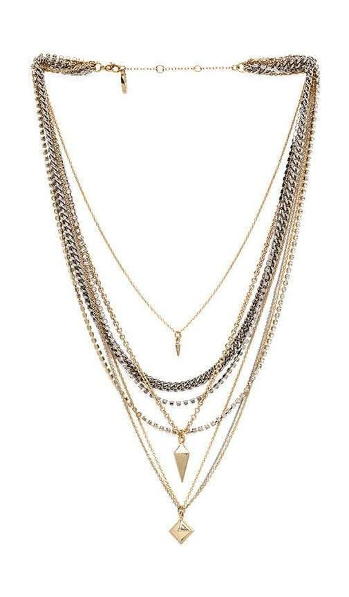 Pyramid & Spike Layered Necklace