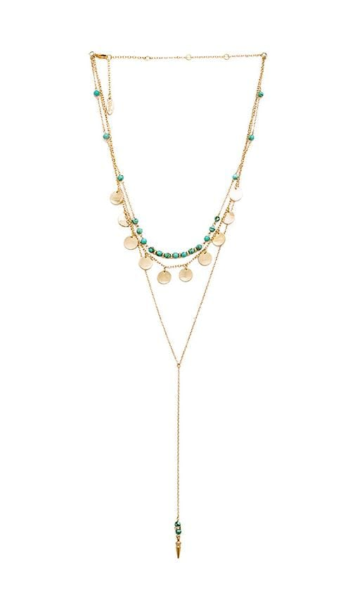 Ettika Disc and Bead Necklace in Gold & Turquoise