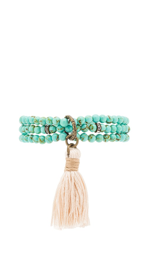 Ettika Beaded Wrap Bracelet in Turquoise & Cream