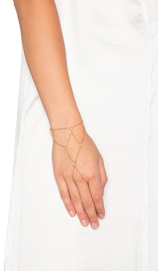 Ettika Hand Chain With Bezels in Metallic Gold