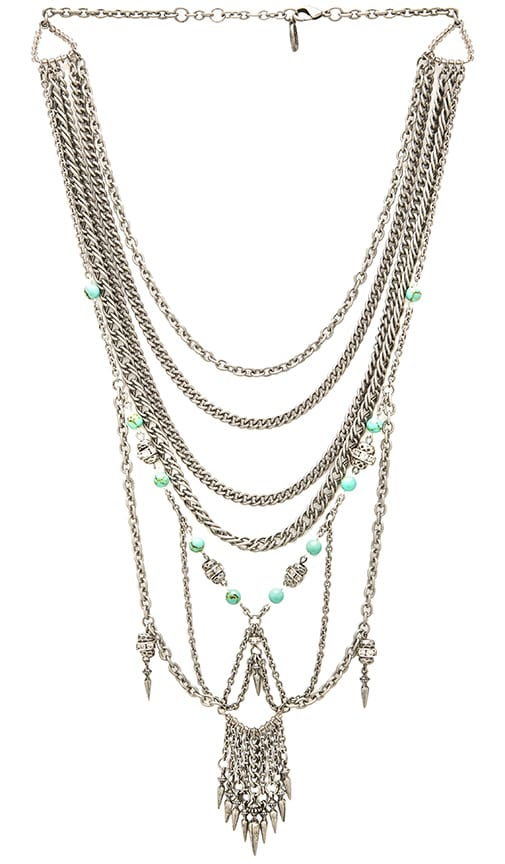 Ettika Multi Layer Necklace in Silver & Turquoise