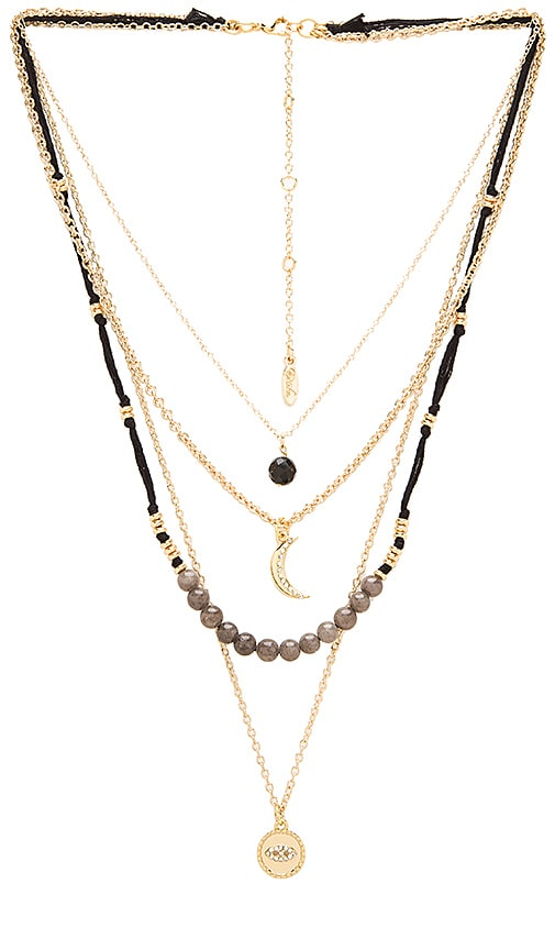 Layered Charm Necklace in Metallic Gold Ettika