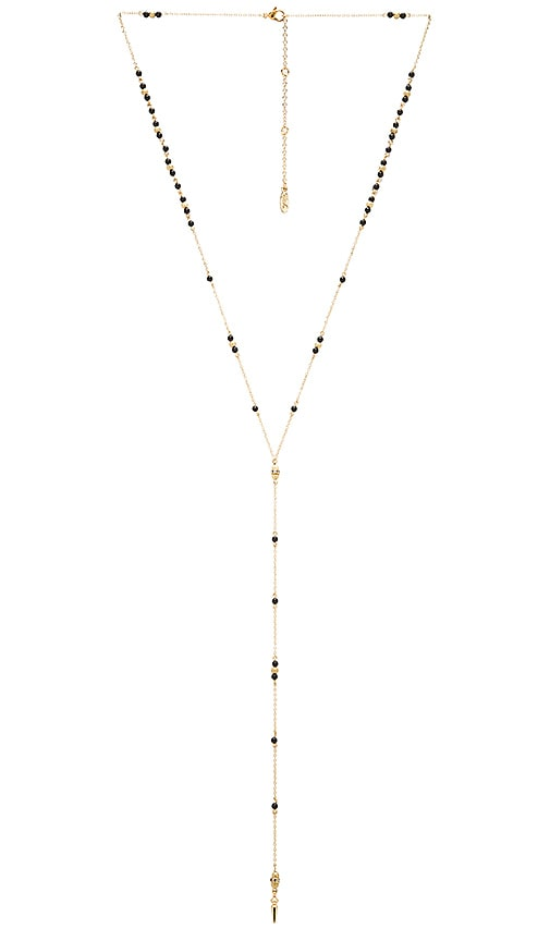 Ettika Beaded Rosary Necklace in Metallic Gold