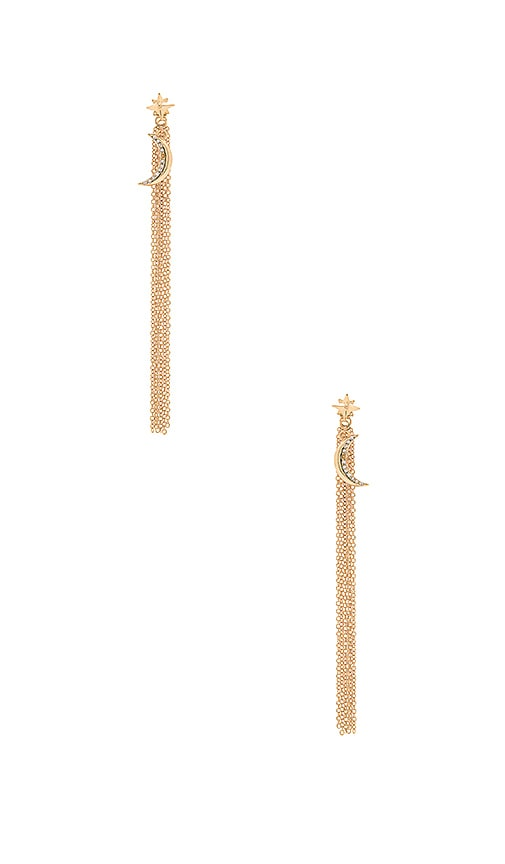 Ettika Moon Charm Fringe Earring in Gold