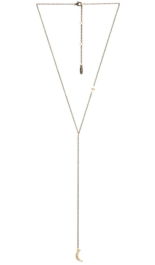 Ettika Beaded Charm Lariat Necklace in Brass