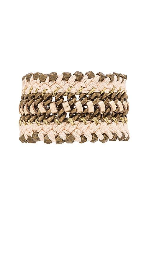 Ettika Woven Chain Bracelet in Brass & Cream