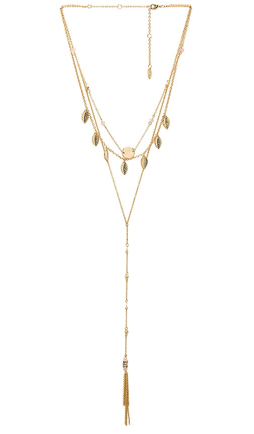 Ettika Fringe Layered Charm Necklace in Metallic Gold