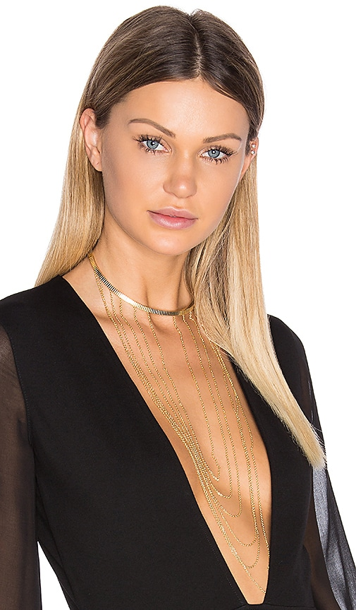 Ettika Drop Chain Choker Necklace in Metallic Gold