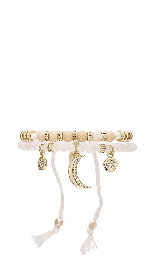 Ettika Beaded Friendship Bracelet & Charms Set in Gold & White
