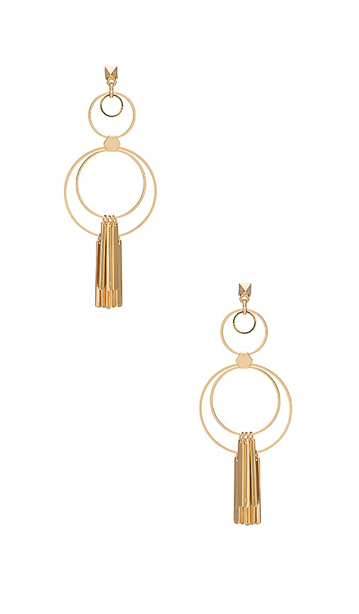 Ettika Multi Circle Earring with Fringe Bars in Metallic Gold