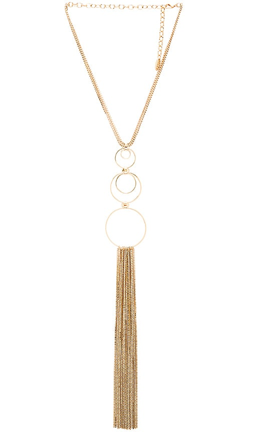 Ettika Circle Fringe Retro Necklace in Metallic Gold