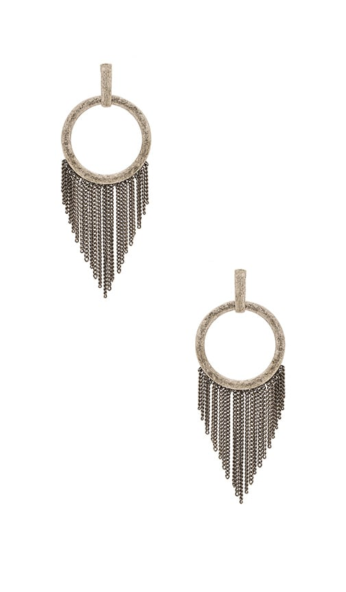 Ettika Fringe O Earring in Metallic Silver