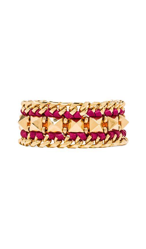 Leather Pyramid Cuff Bracelet