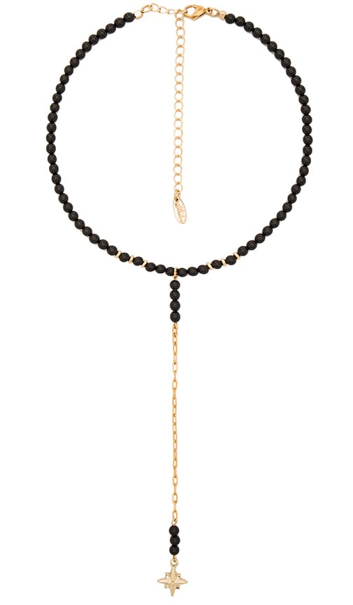 Ettika Beaded Drop Necklace in Black