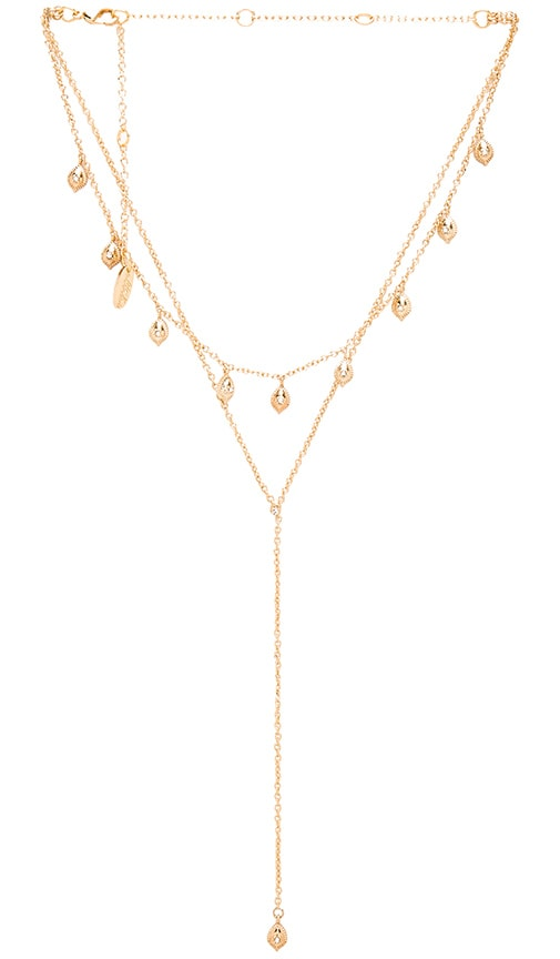 Ettika Double Layer Necklace in Metallic Gold