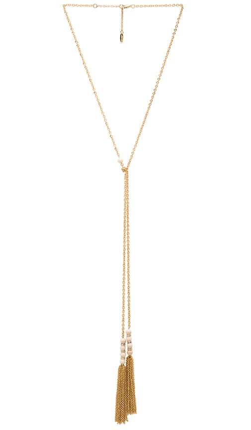 Ettika Tassel Drop Necklace in Metallic Gold
