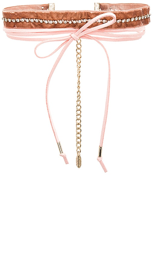 Ettika Velvet & Leather Wrap Choker in Pink