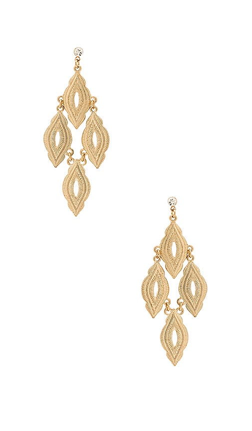 Ettika Hanging Drop Earring in Metallic Gold