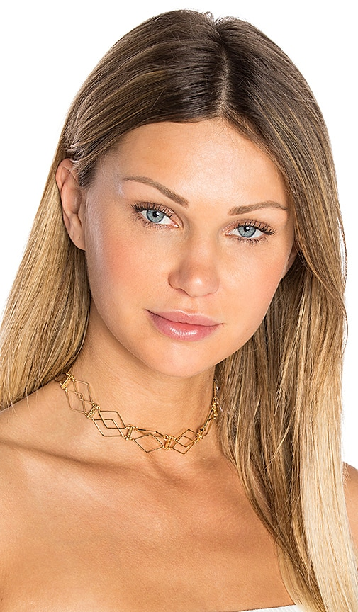 Ettika Modern Life Choker in Metallic Gold