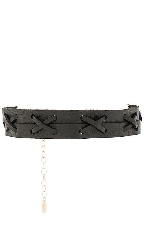 Ettika Leather Choker in Black