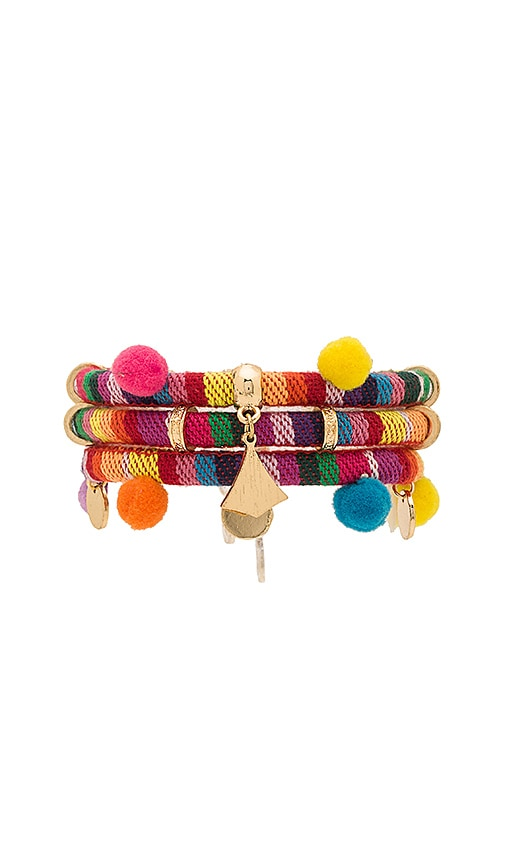 Ettika Dahl Multi Pom Pom Bracelet in Red