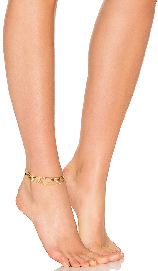 Ettika Coin Anklet in Metallic Gold