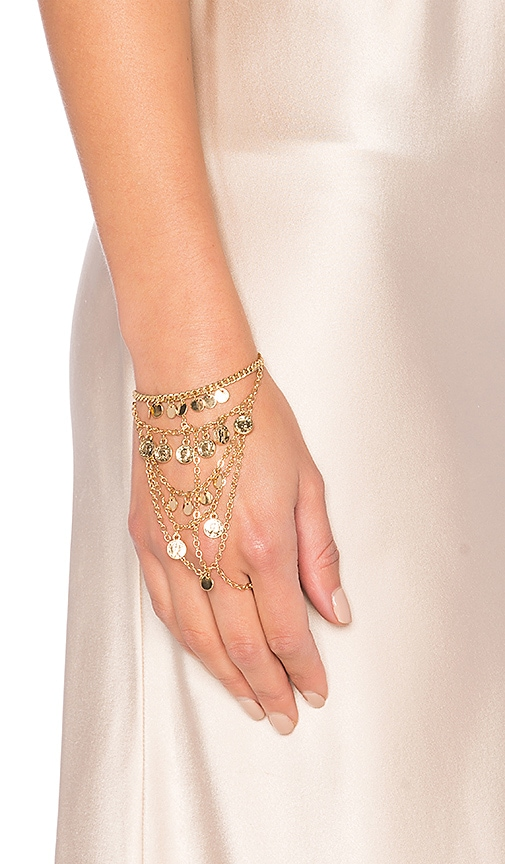 Ettika Coin Hand Chain in Metallic Gold
