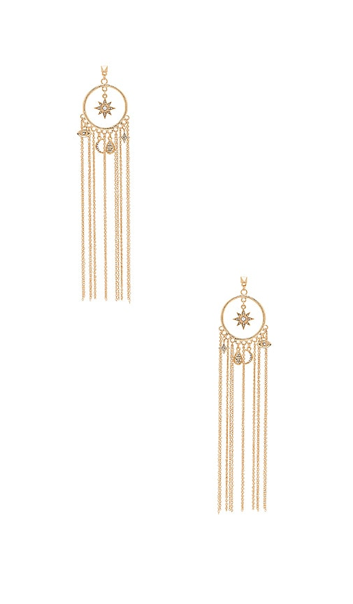 Ettika Circle Charm Tassel Earring in Metallic Gold