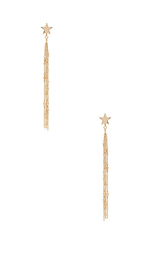 Ettika Shooting Star Tassel Earrings in Metallic Gold