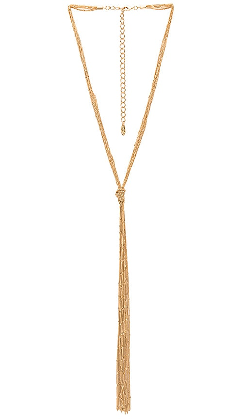 Ettika Tied Tassel Necklace in Metallic Gold