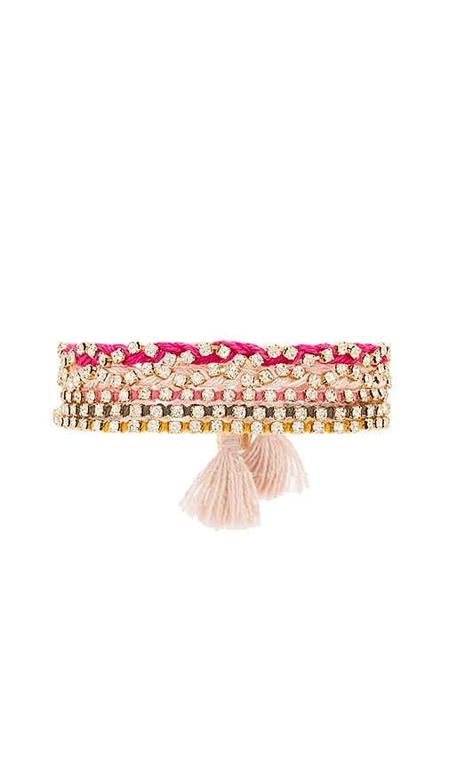 Ettika Beaded Layered Bracelet in Pink