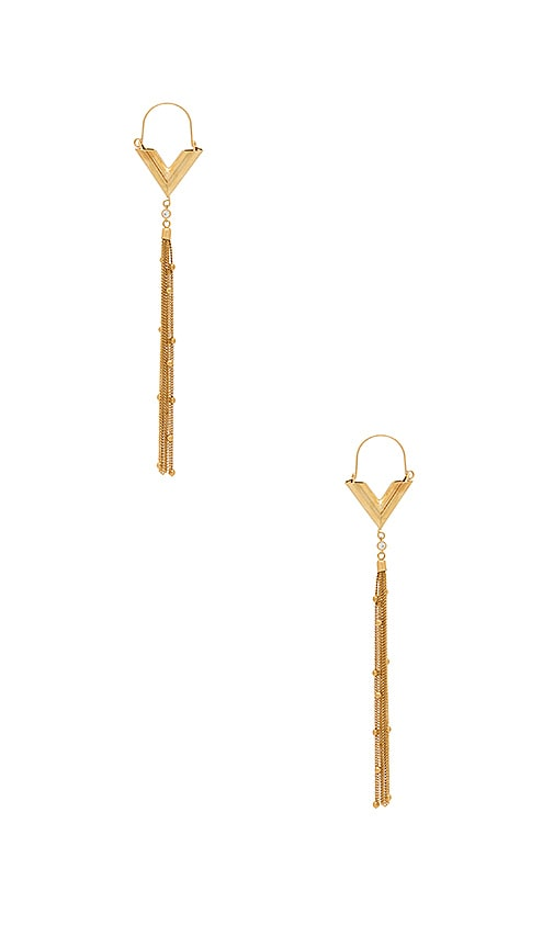 Ettika Dainty Tassel Earrings in Metallic Gold