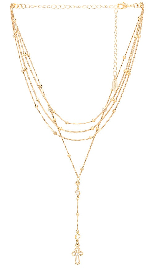 Layered Palm Necklace in Metallic Gold Ettika U9SPx