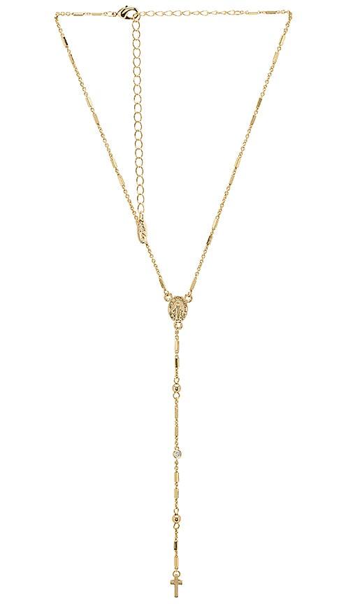 Ettika Cross Layered Lariat Necklace in Metallic Gold