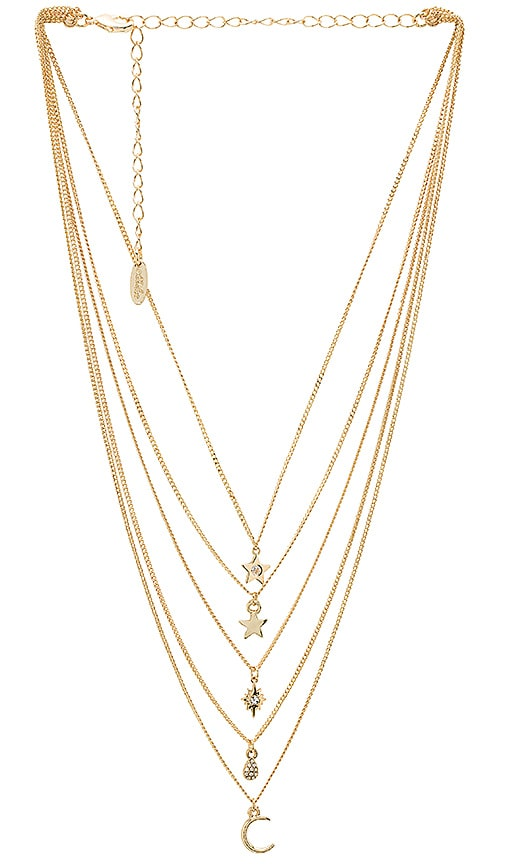 Ettika Layered Charm Necklace in Metallic Gold