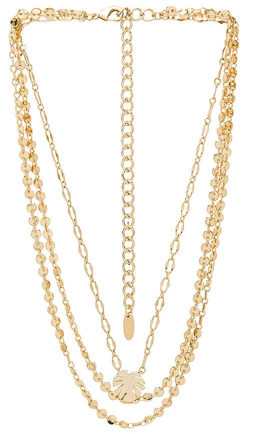 Ettika Layered Palm Necklace in Metallic Gold