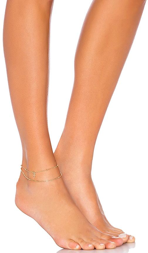 Ettika X REVOLVE Layered Anklet in Metallic Gold