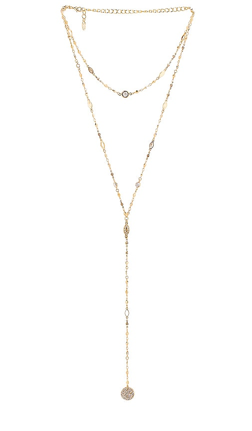 Cystal & Chain Lariat Necklace