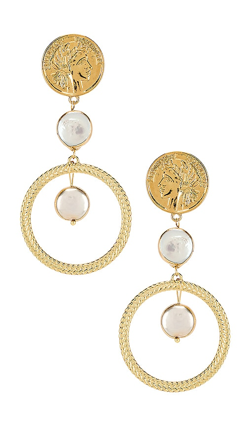 Coin & Pearl Drop Earring