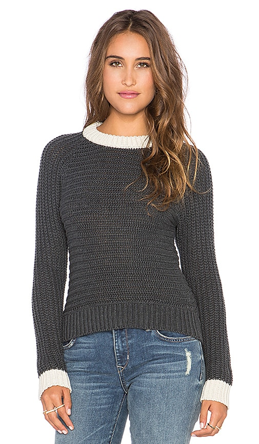 EVER Folsom Sweater in Charcoal & Cream
